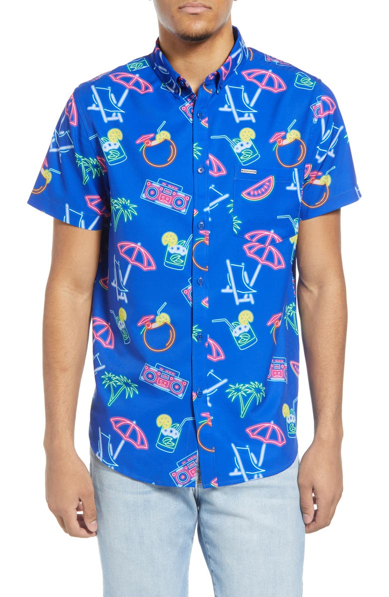 VINTAGE SUMMER Neon Water Repellent Short Sleeve Button-Down Shirt, Main, color, ROYAL