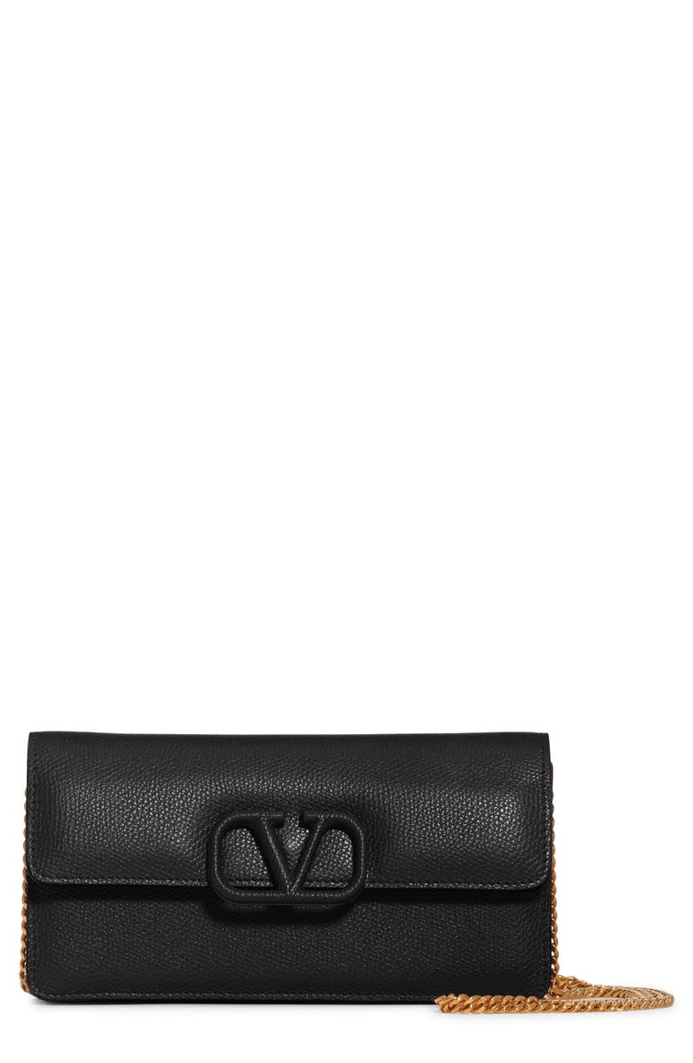 VALENTINO GARAVANI VSling Calfskin Wallet on a Chain, Main, color, NERO