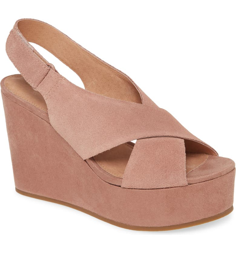 CASLON<SUP>®</SUP> Kenley Wedge Sandal, Main, color, DUSTY PINK SUEDE