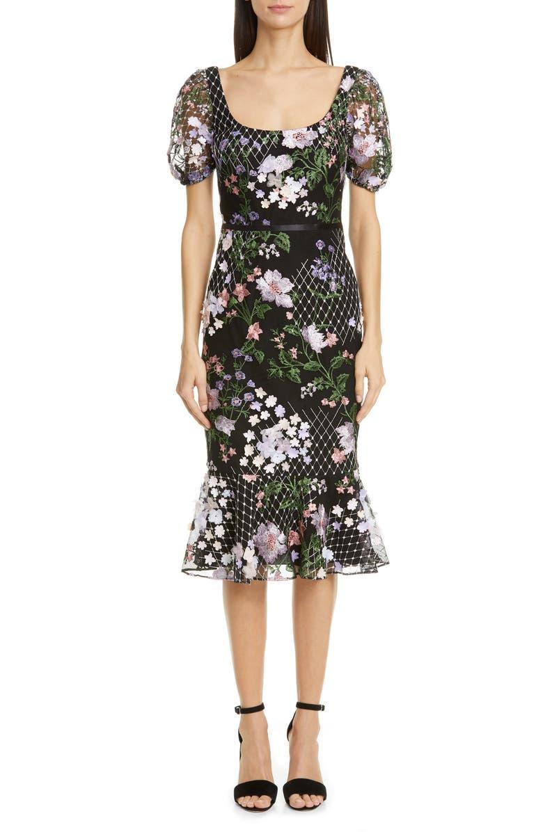 MARCHESA NOTTE Floral Appliqué Tulle Cocktail Dress, Main, color, BLACK