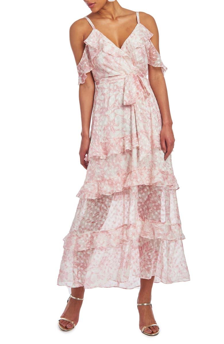 CHRISTIAN SIRIANO Cold Shoulder Ruffle Maxi Dress, Main, color, EGGSHELL COMBO
