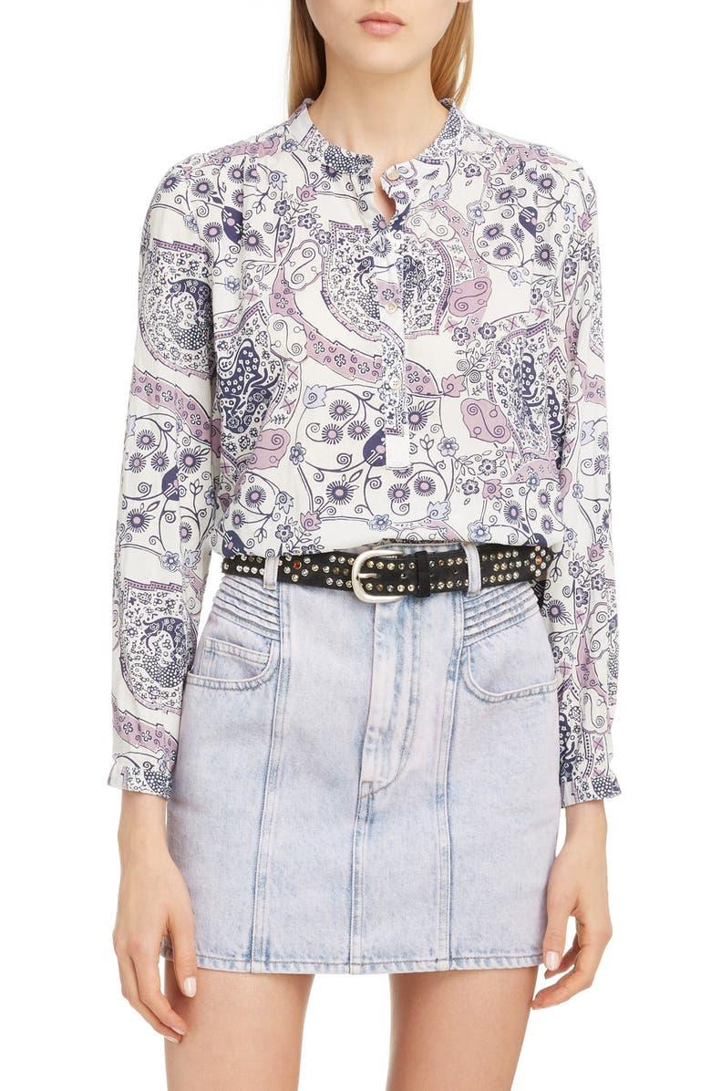 ISABEL MARANT ÉTOILE Maria Floral Print Cotton Shirt, Main, color, ECRU/ PINK