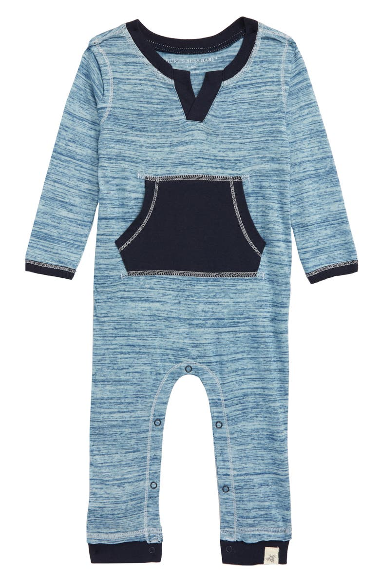 BURTS BEES Burt's Bees Baby Space Dyed Organic Cotton Romper, Main, color, MIDNIGHT