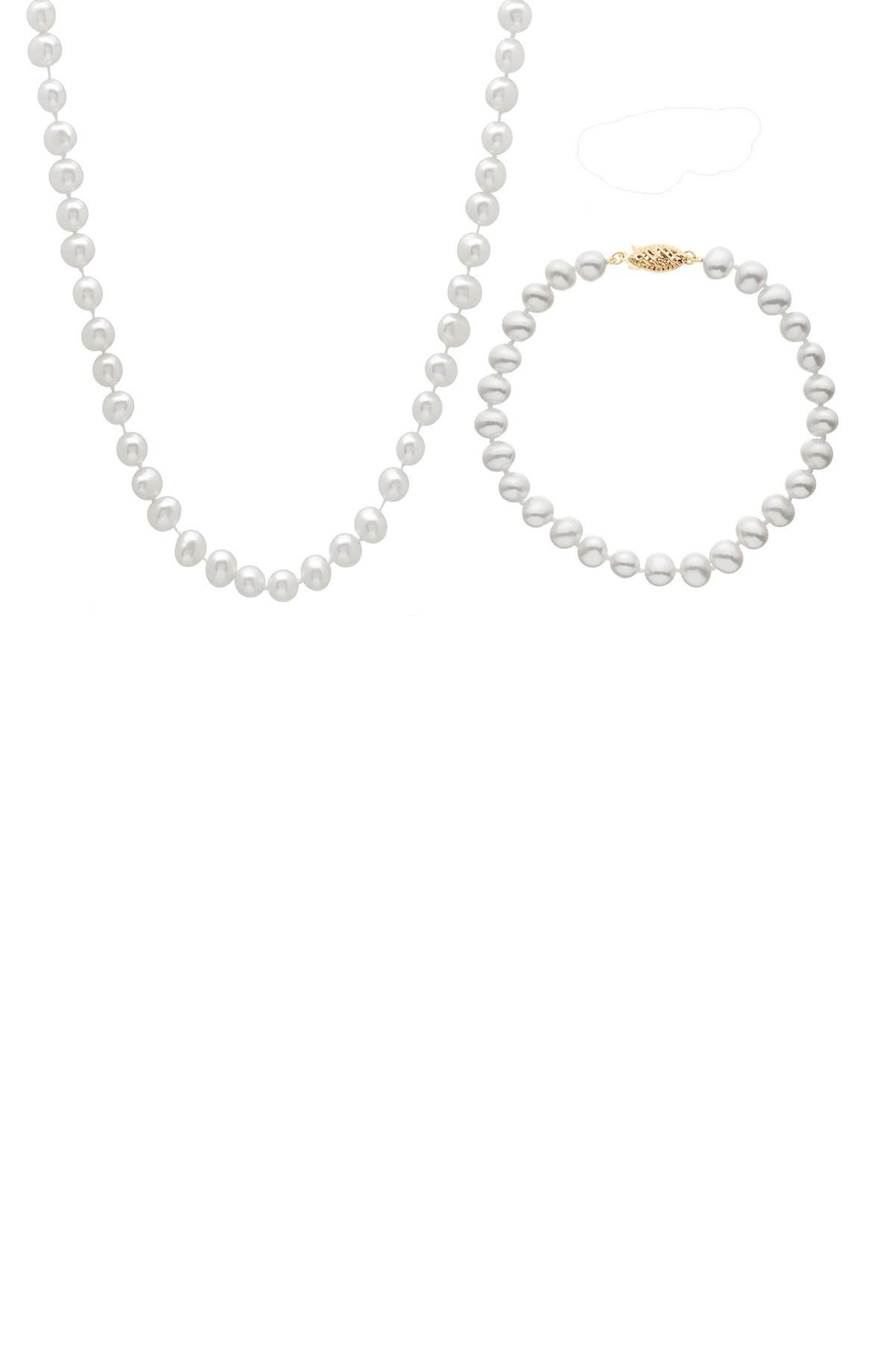 Image of Splendid Pearls 14K Gold 3-Piece 7-8mm Freshwater Pearl Set
