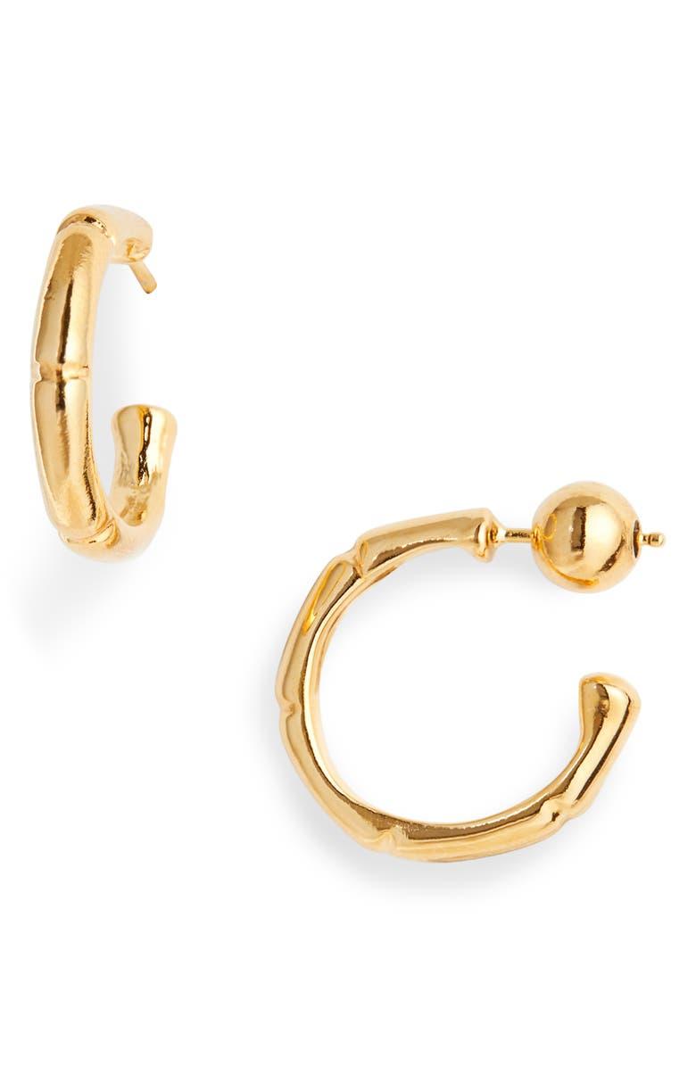 SOPHIE BUHAI Thin Bamboo Hoop Earrings, Main, color, 18K GOLD VERMEIL