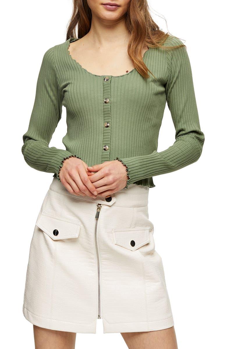 TOPSHOP Lettuce Edge Button-Up Cardigan, Main, color, 300