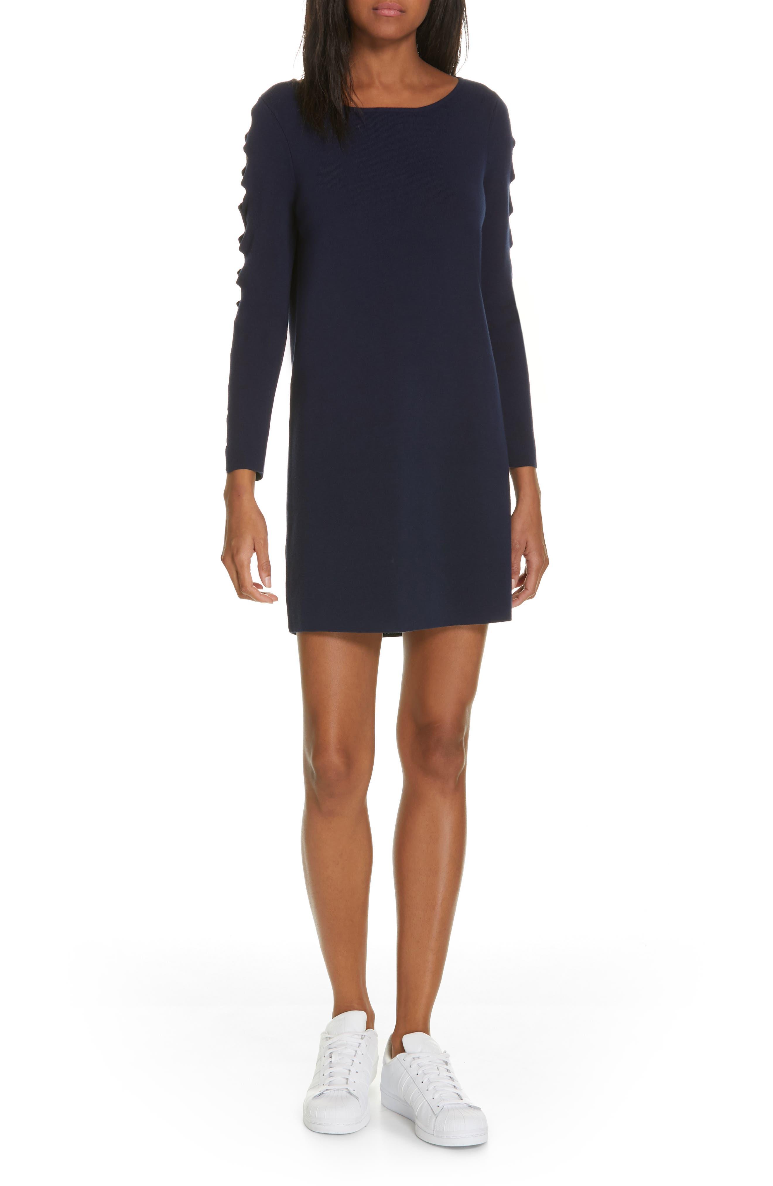 Milly Scallop Sleeve Shift Dress, Size Petite - Blue