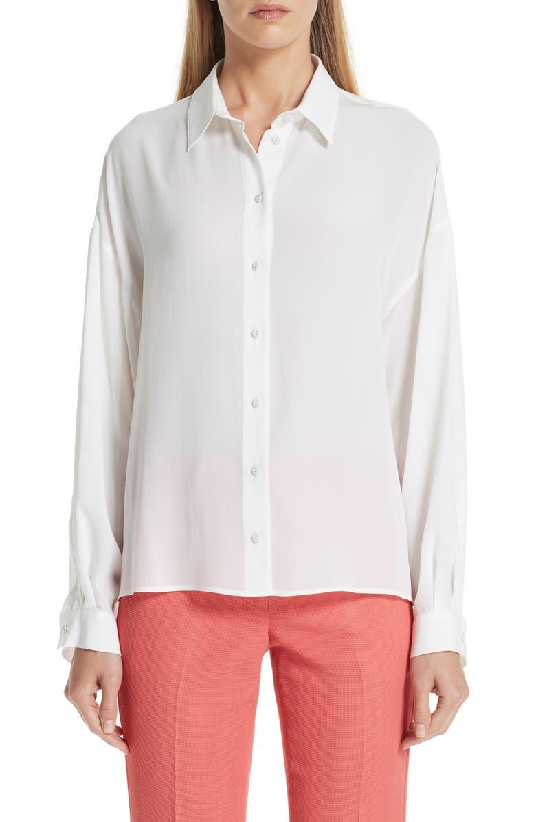 EMPORIO ARMANI Silk Blouse, Main, color, 100