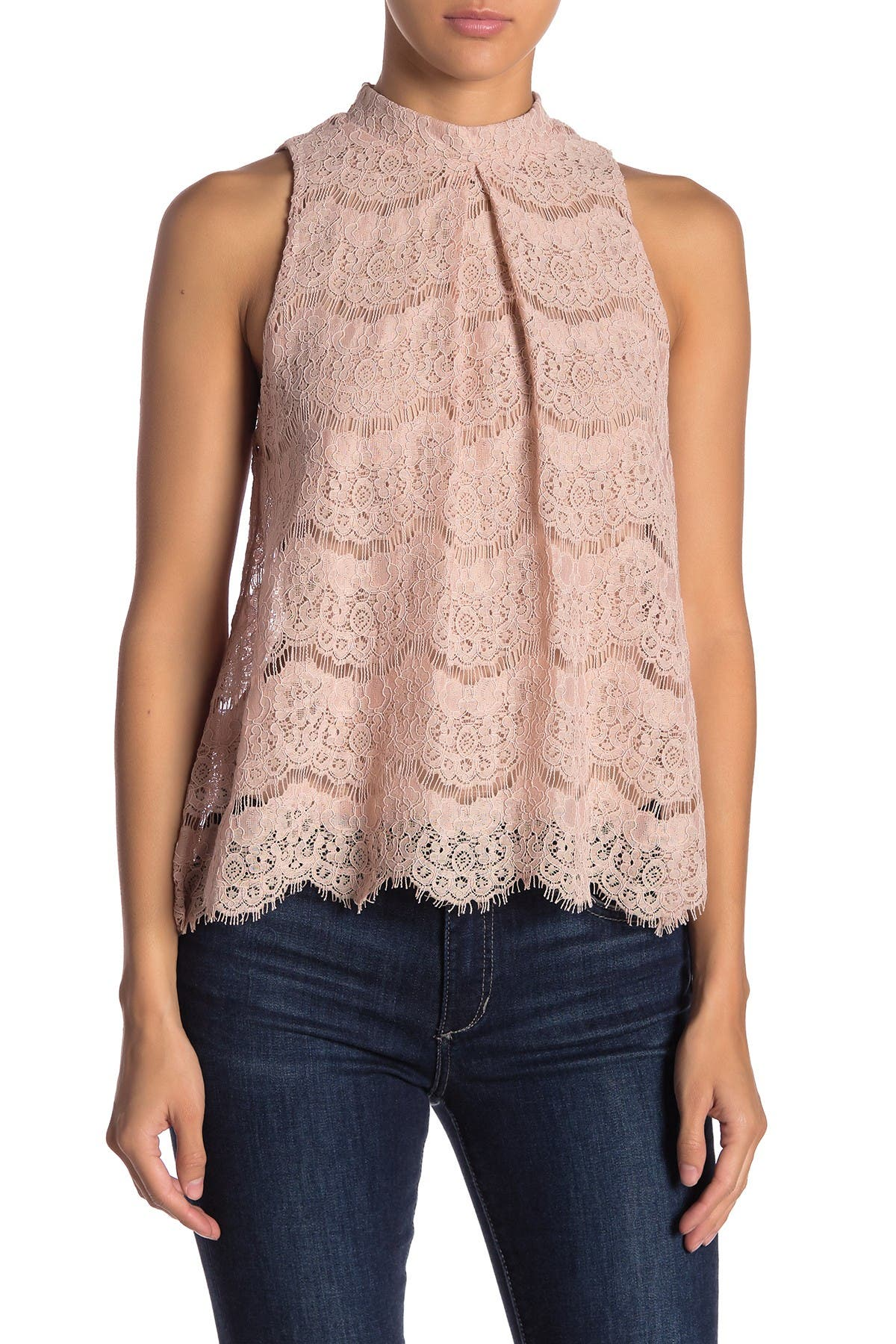Image of Love, Fire Mock Neck Lace Tank Top