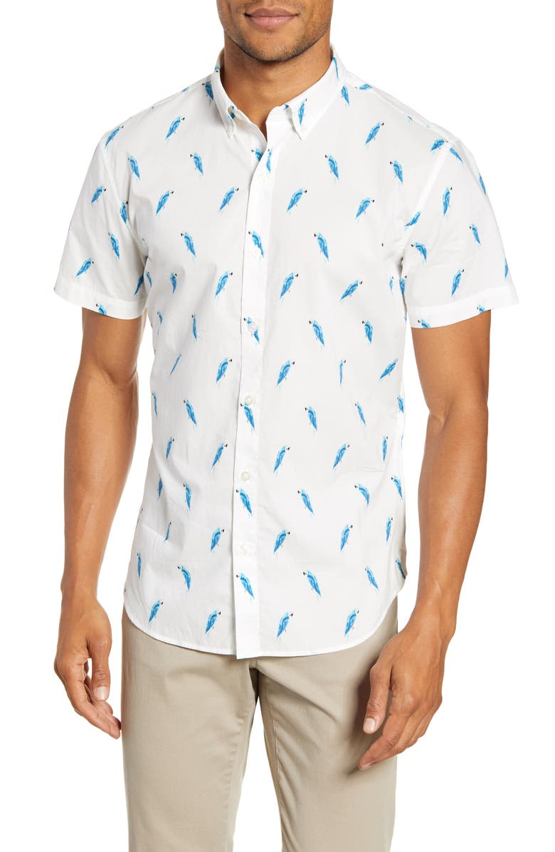 BONOBOS Slim Fit Print Short Sleeve Button-Down Shirt, Main, color, MACAW STAMP IBIZA BLUE
