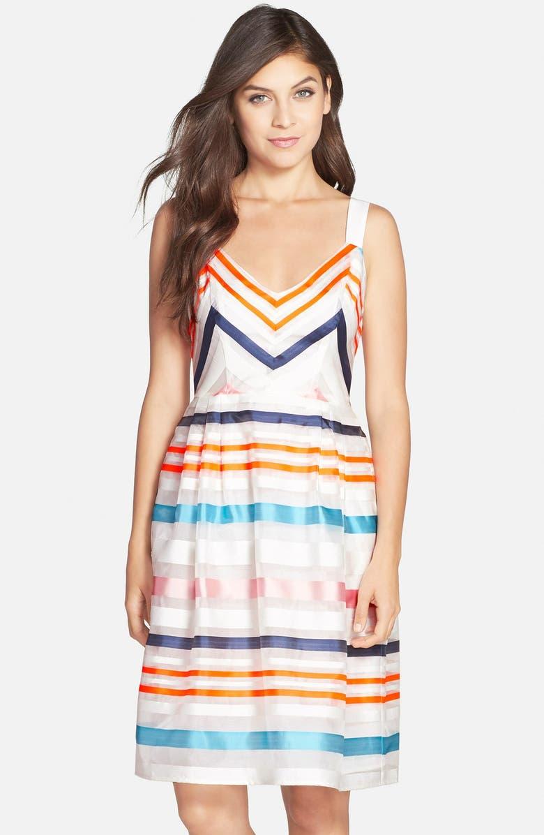 FELICITY & COCO Stripe Chiffon Fit & Flare Dress, Main, color, 100