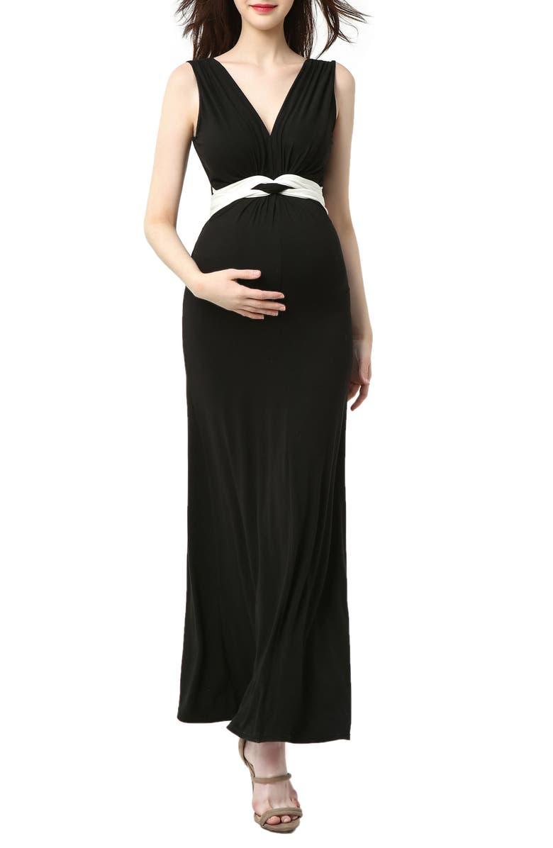 KIMI AND KAI Scarlett Maternity Maxi Dress, Main, color, BLACK/ WHITE