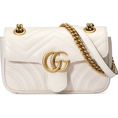 Gucci Mini Gg 2.0 Matelasse Leather Shoulder Bag - White