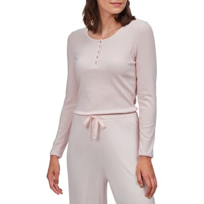 The White Company Ribbed Henley Pajama Top, Pink