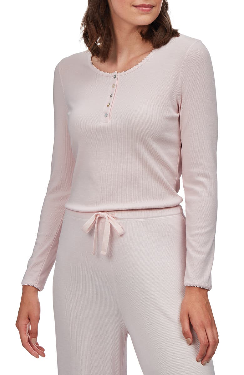 THE WHITE COMPANY Ribbed Henley Pajama Top, Main, color, PINK