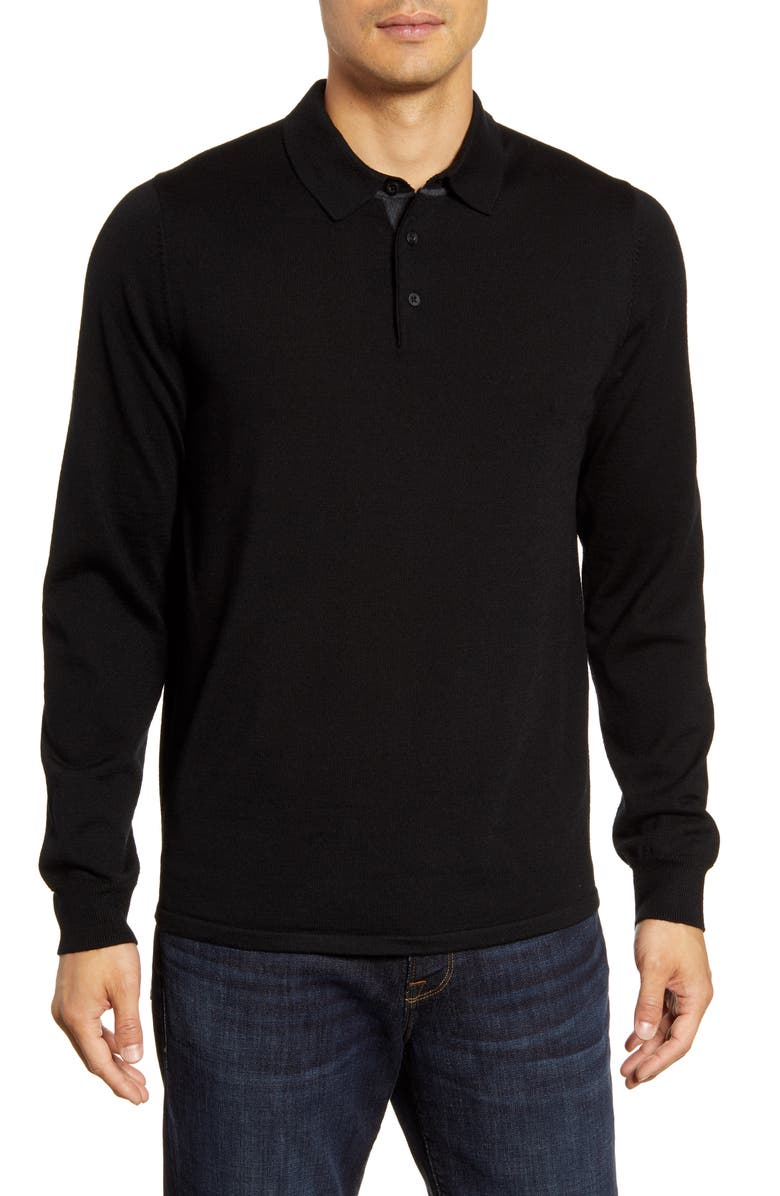 NORDSTROM MEN'S SHOP Merino Wool Polo Sweater, Main, color, BLACK ROCK