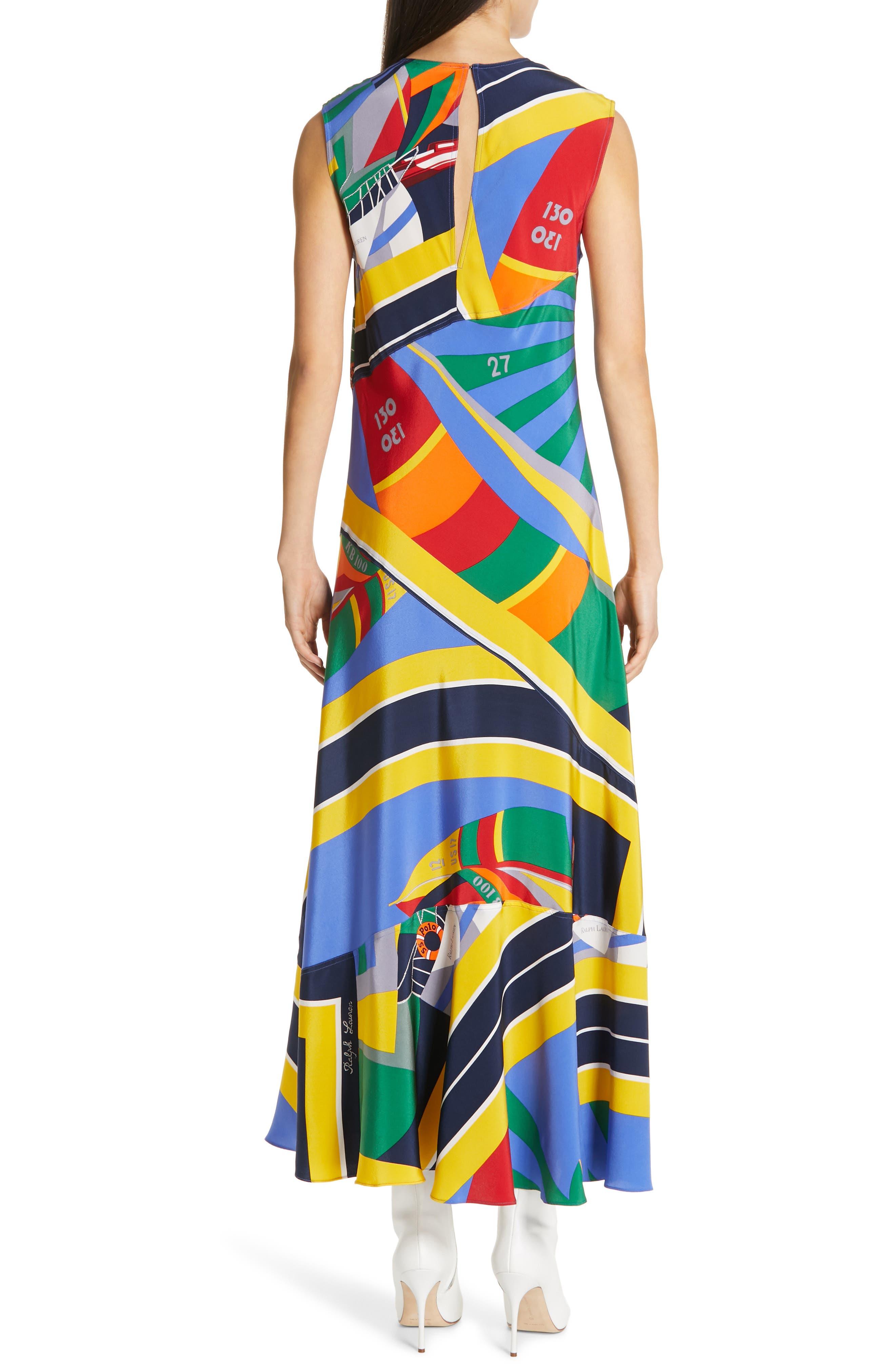 ,                             Sleeveless Silk Maxi Dress,                             Alternate thumbnail 2, color,                             WINDY SAILBOAT PRINT