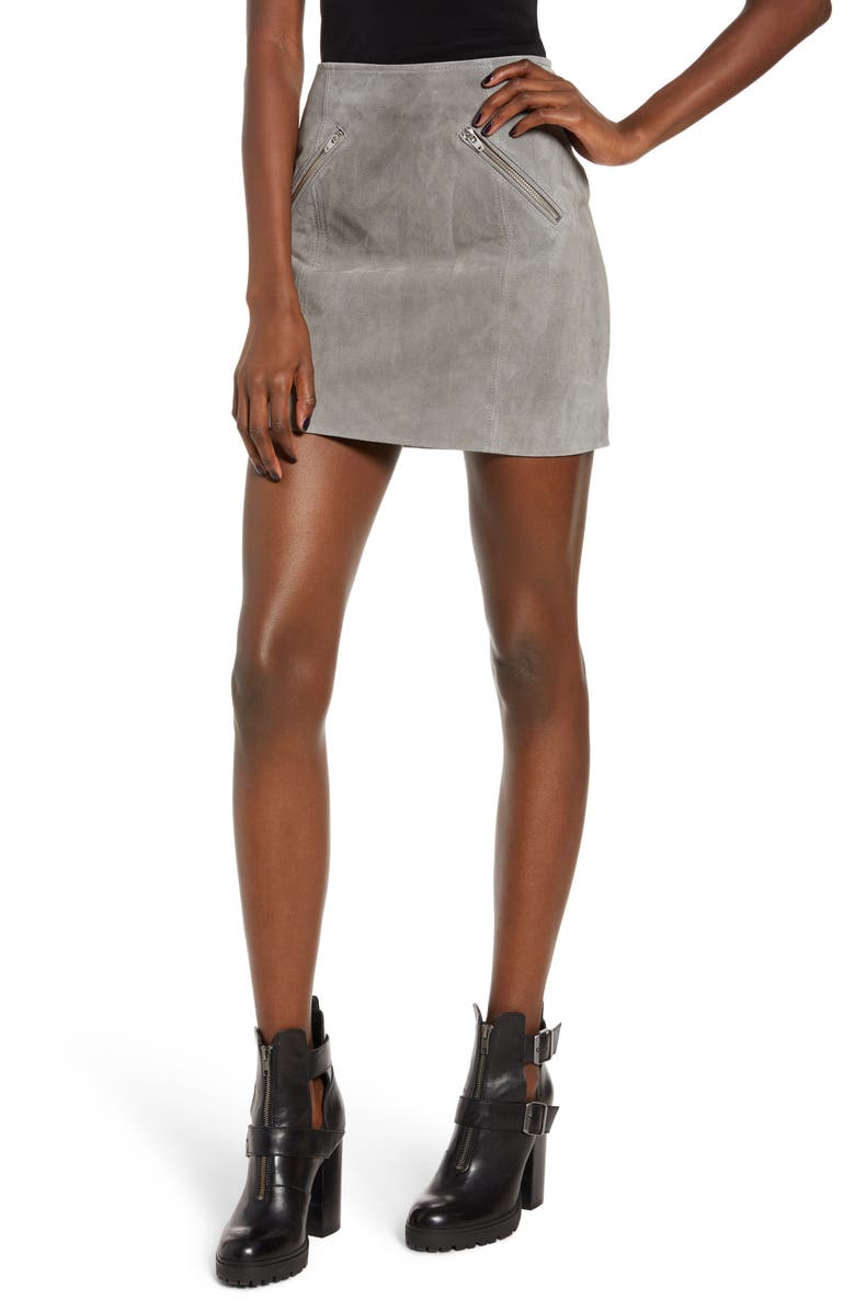 BLANKNYC Suede Miniskirt, Main, color, SOFT FOG