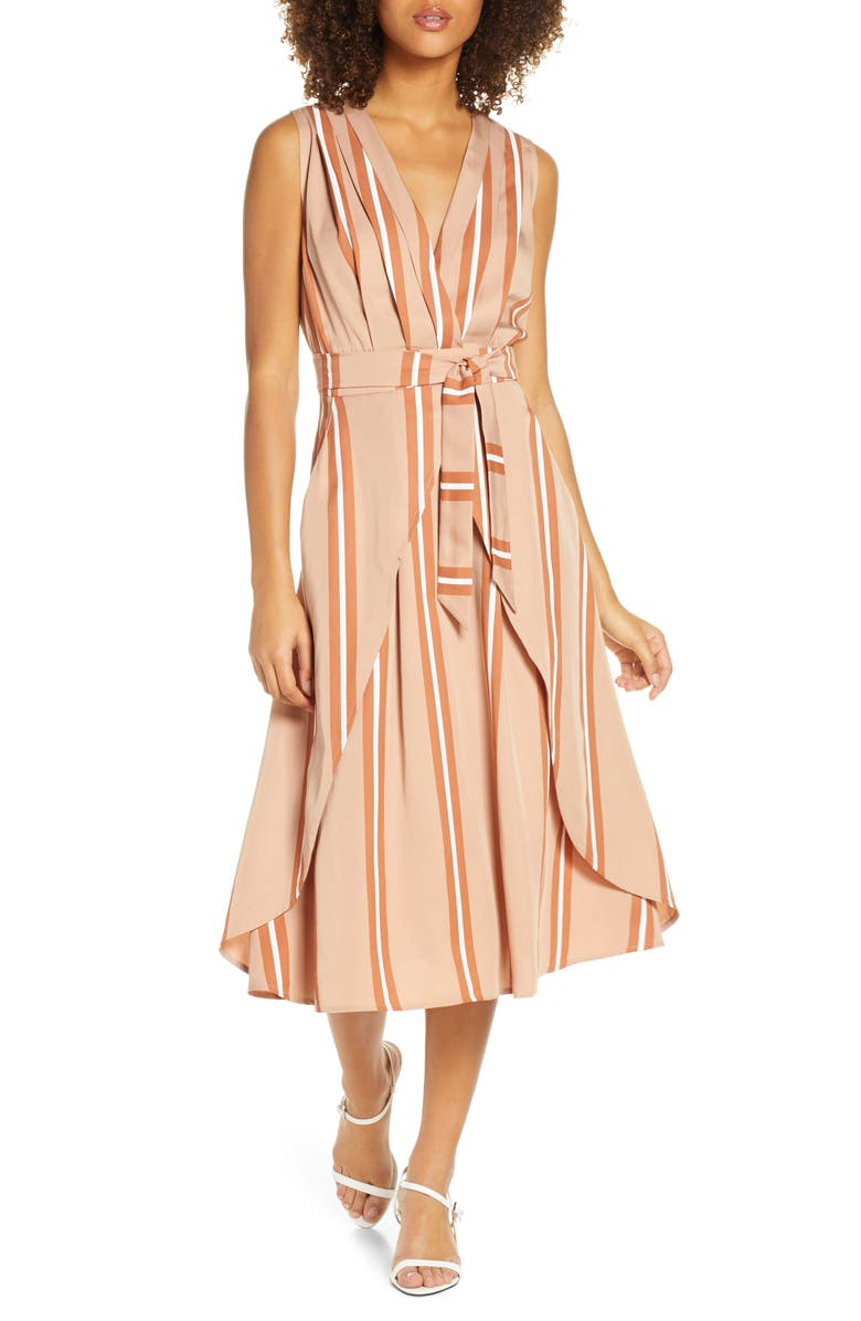 SANCIA Ada Stripe Faux Wrap Midi Dress, Main, color, HANA STRIPE