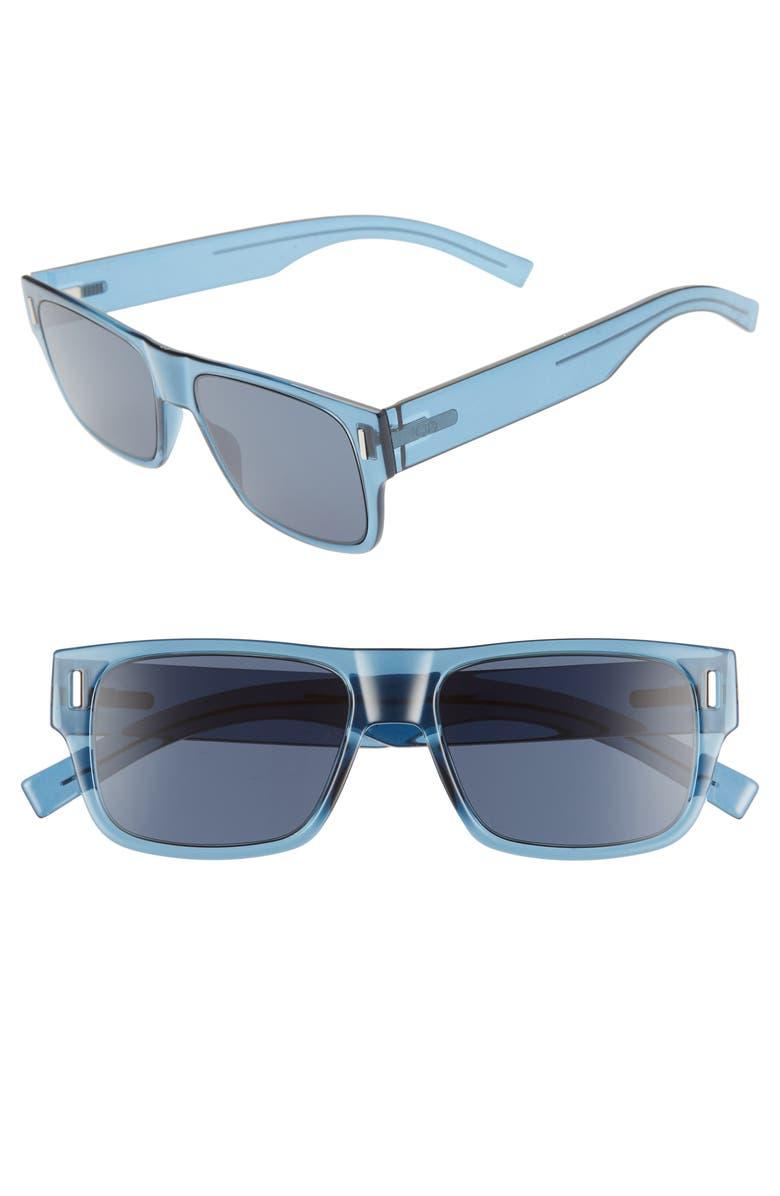DIOR Fraction4 54mm Rectangular Sunglasses, Main, color, BLUE / BLUE MS GOLD