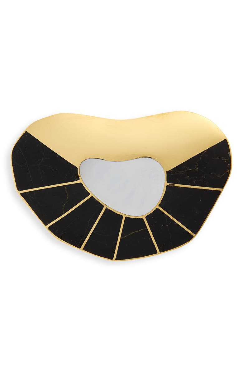 MONICA SORDO Puinare Brooch, Main, color, MOTHER OF PEARL/ BLACK ONYX