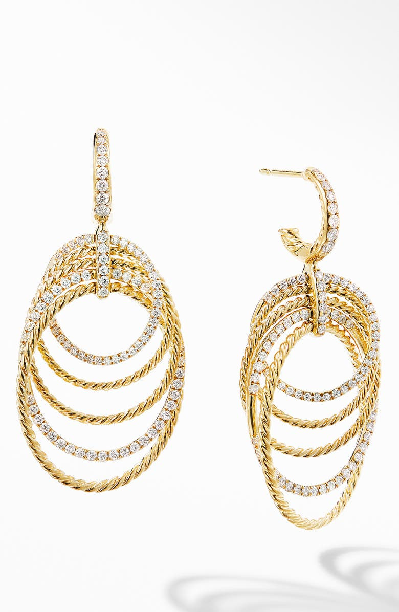 DAVID YURMAN DY Origami 18K Yellow Gold Drop Earrings with Diamonds, Main, color, YELLOW GOLD/ DIAMOND