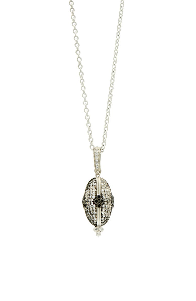 FREIDA ROTHMAN Industrial Finish Pendant Necklace, Main, color, BLACK/ SILVER