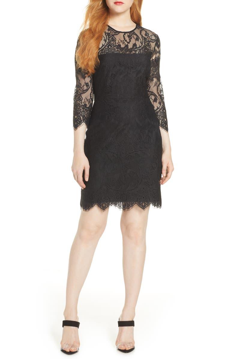 BB DAKOTA Jayce Lace Sheath Dress, Main, color, 001
