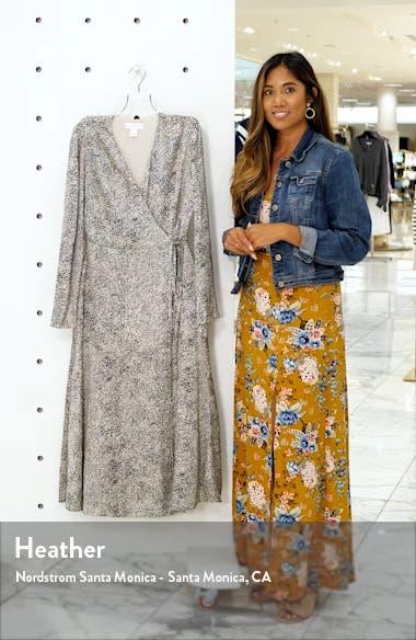 Cheetah Print Long Sleeve Satin Wrap Dress, sales video thumbnail