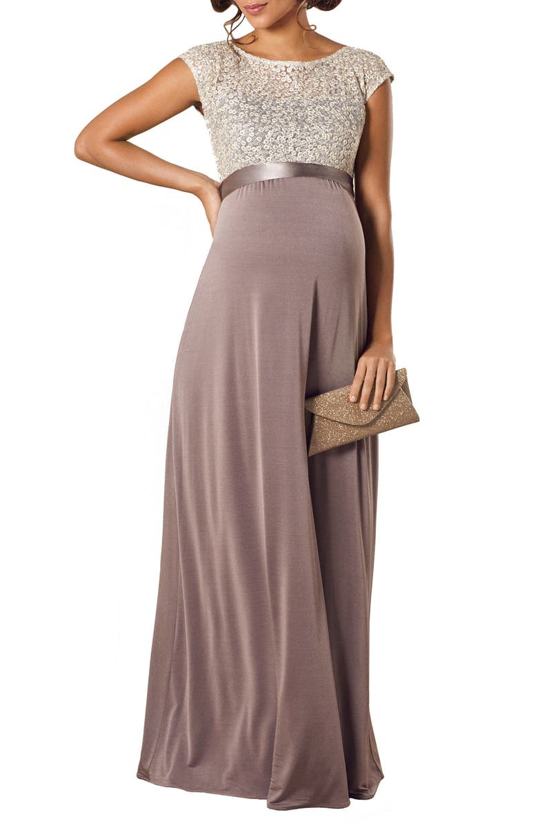 TIFFANY ROSE Mia Maternity Gown, Main, color, DUSKY TRUFFLE
