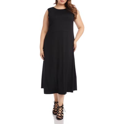 Plus Size Karen Kane V-Back A-Line Maxi Dress, Black