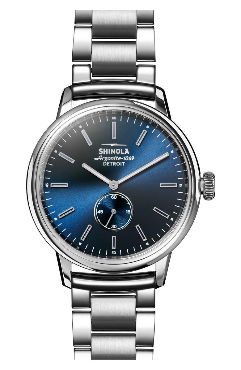 SHINOLA Bedrock Bracelet Watch, 42mm, Main, color, SILVER/ BLUE/ SILVER