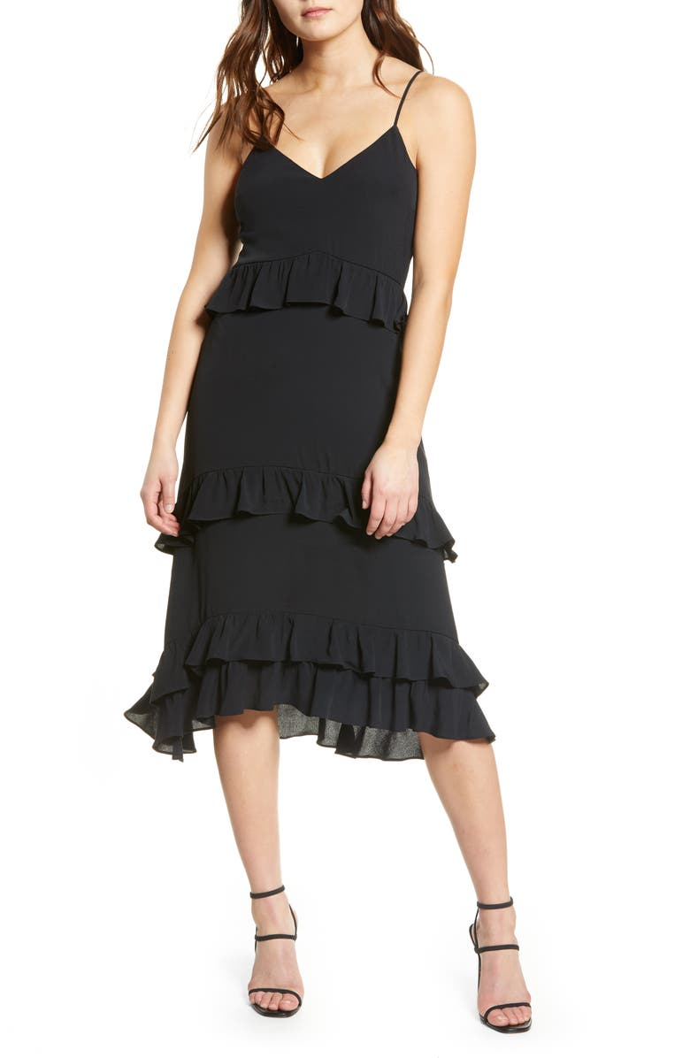 ROW A Tiered High/Low Dress, Main, color, BLACK