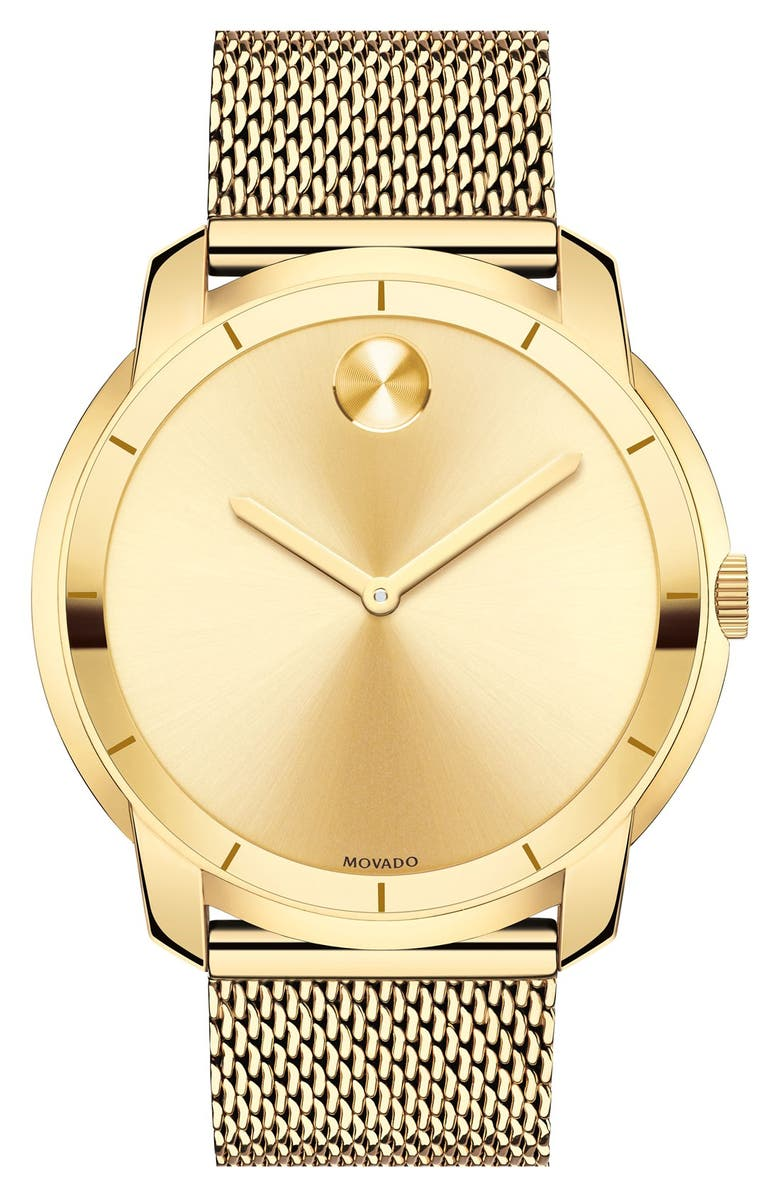 MOVADO 'Bold' Mesh Strap Watch, 44mm, Main, color, GOLD