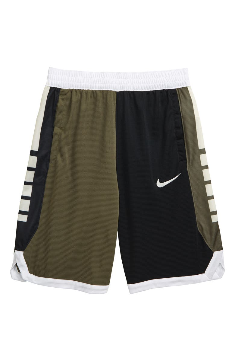 NIKE Dry Elite Basketball Shorts, Main, color, MEDIUM OLIVE/ WHITE