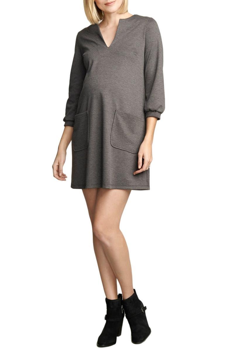 MATERNAL AMERICA Stripe Maternity Dress, Main, color, HEATHER CHARCOAL