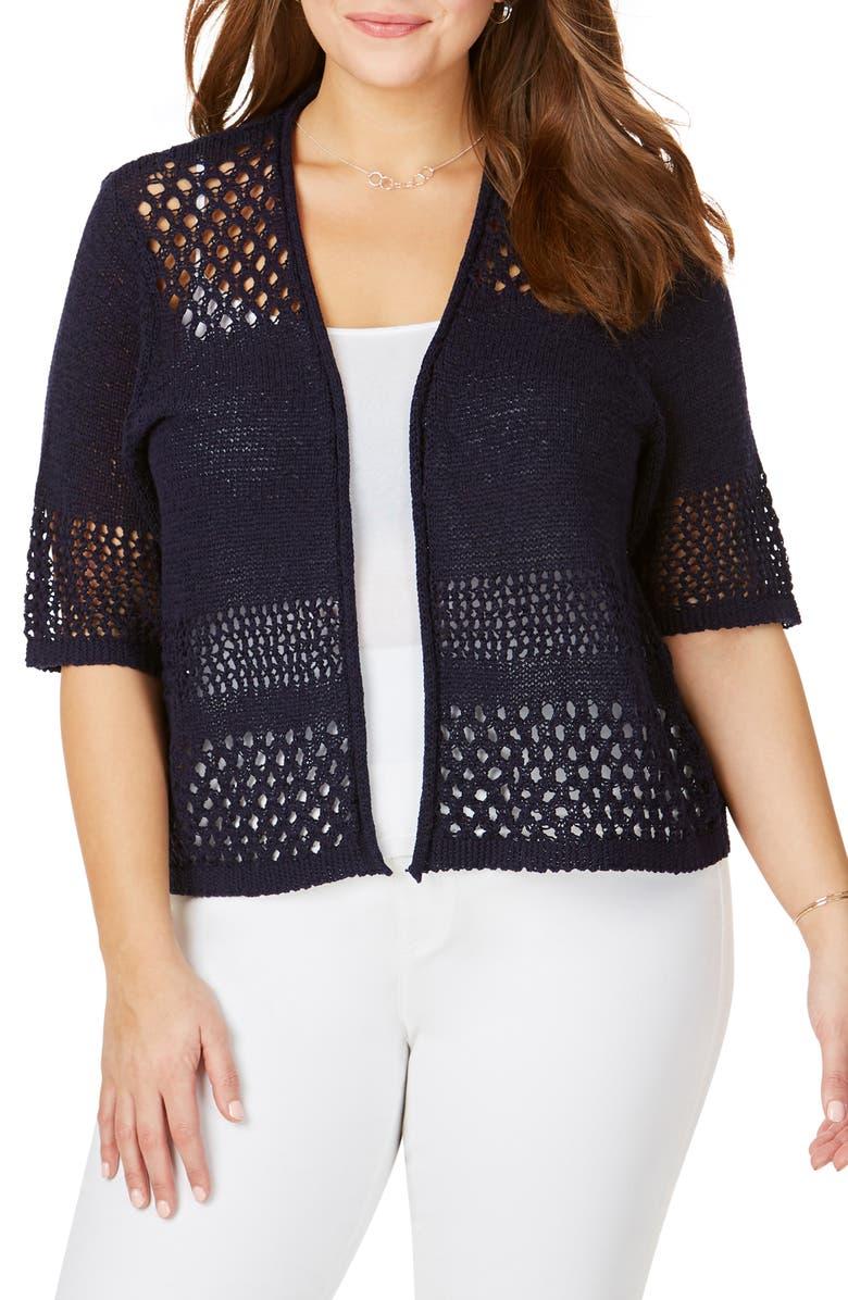 FOXCROFT Hana Eyelet Stitch Short Sleeve Cotton Blend Sweater, Main, color, NAVY