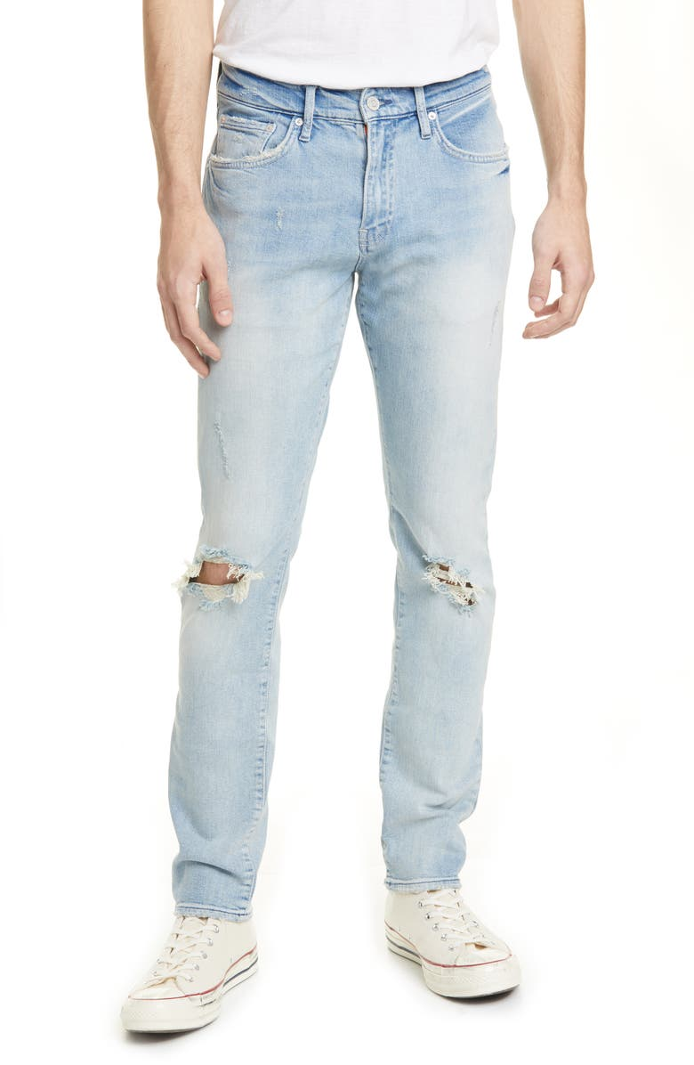OVADIA Ripped Slim Sky Torn Jeans, Main, color, LIGHT BLEACH DESTROY