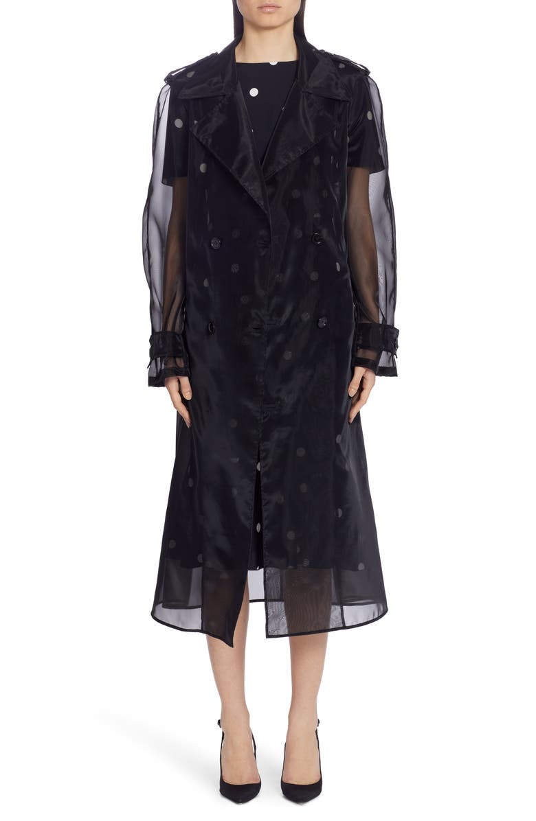 DOLCE&GABBANA Sheer Organza Trench Coat, Main, color, BLACK