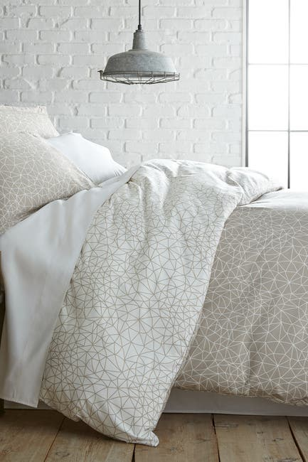 Image of SOUTHSHORE FINE LINENS King/California King Southshore Fine Linens Modern Printed Duvet Cover Set - Geometric Maze Taupe