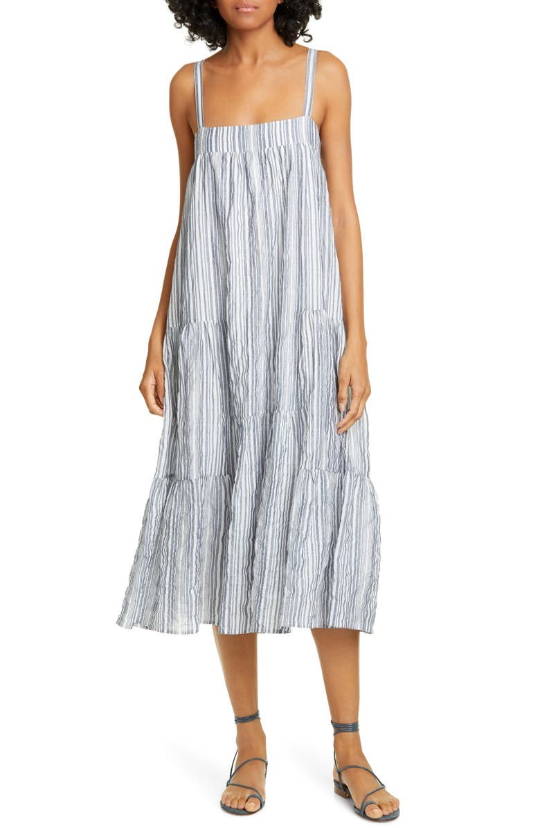 JENNI KAYNE Summer Stripe Cotton Blend Sundress, Main, color, IVORY/ CHAMBRAY