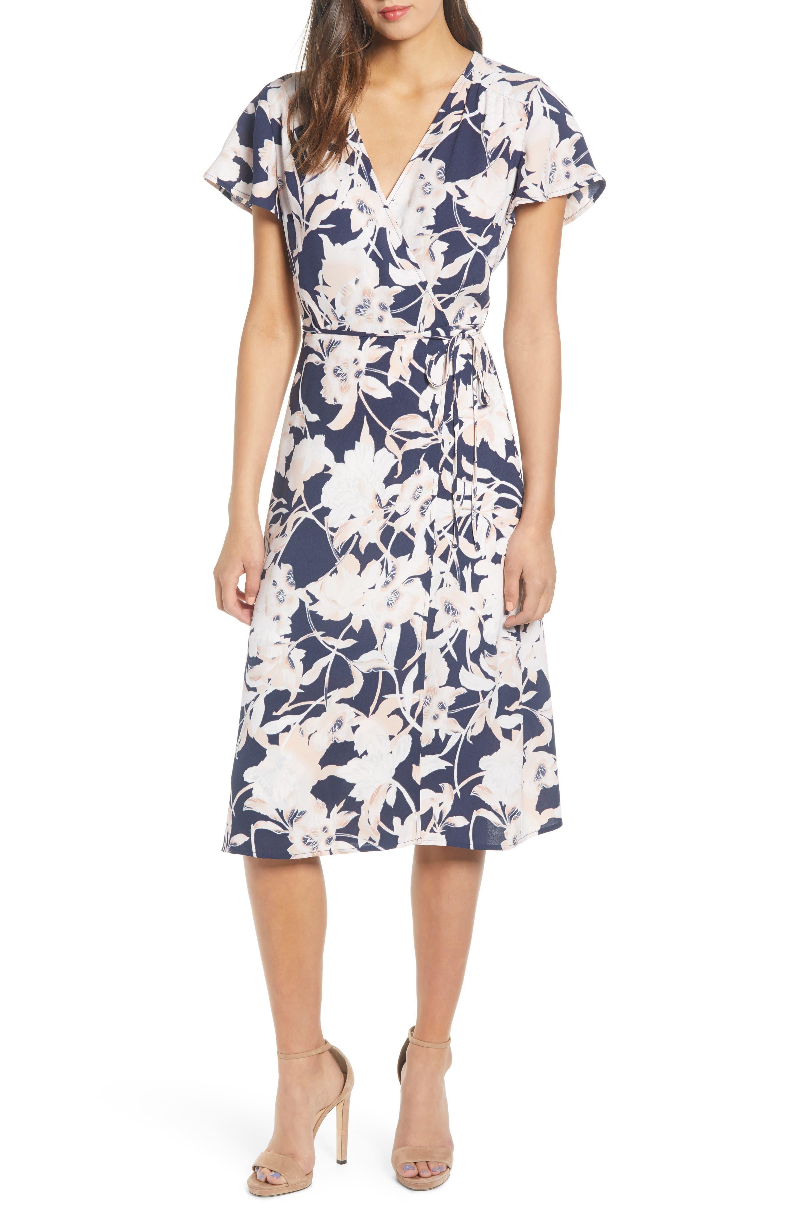 Midi Wrap Dress, Main, color, NAVY PEACOAT AURA FLORAL