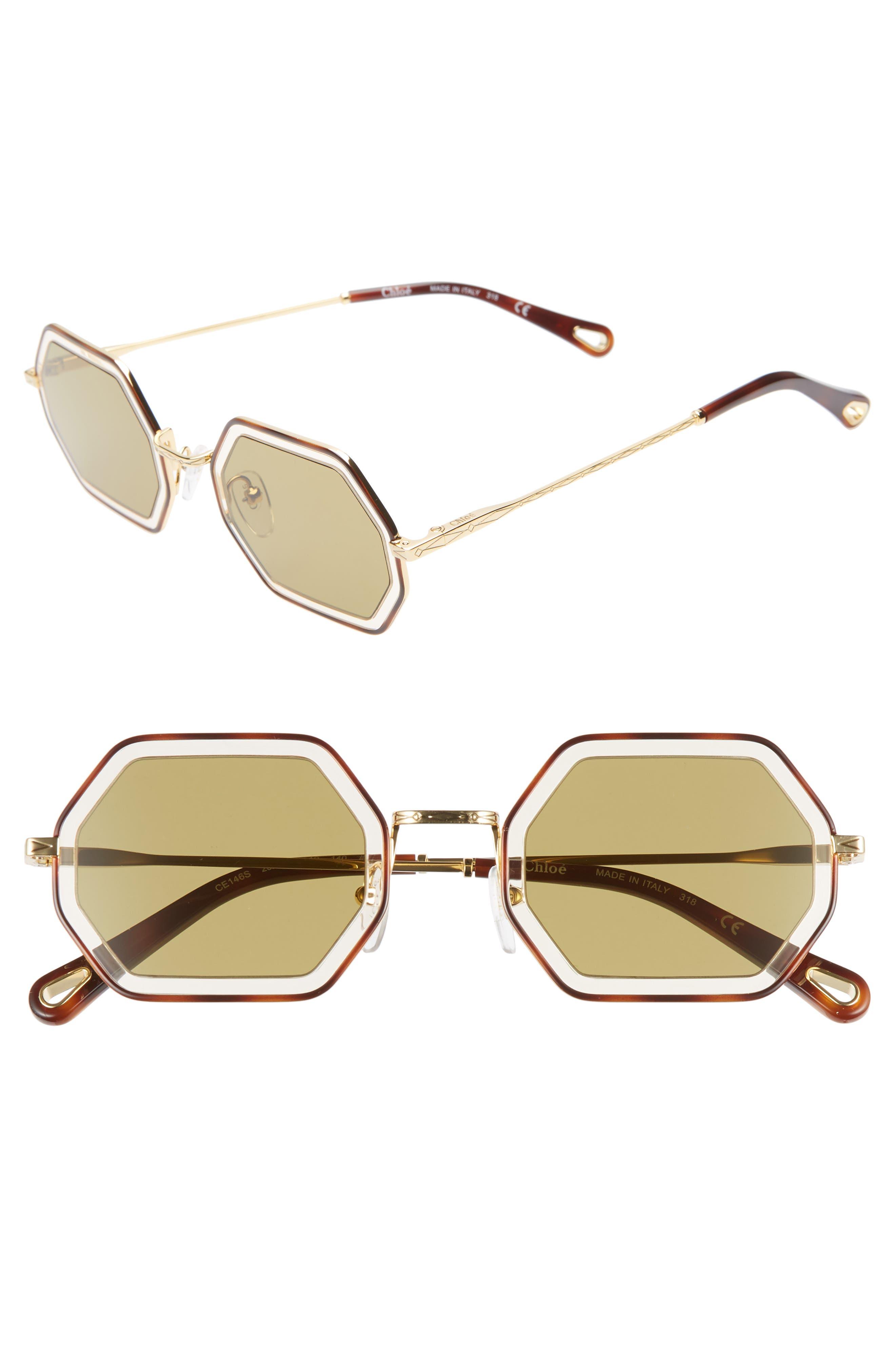 Chloe Tally 5m Octagon Sunglasses - Havana/ Sand/ Khaki