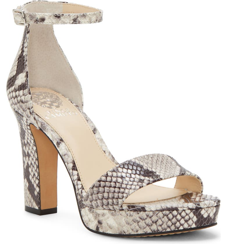 VINCE CAMUTO Sathina Sandal, Main, color, BLACK WHITE PRINT LEATHER