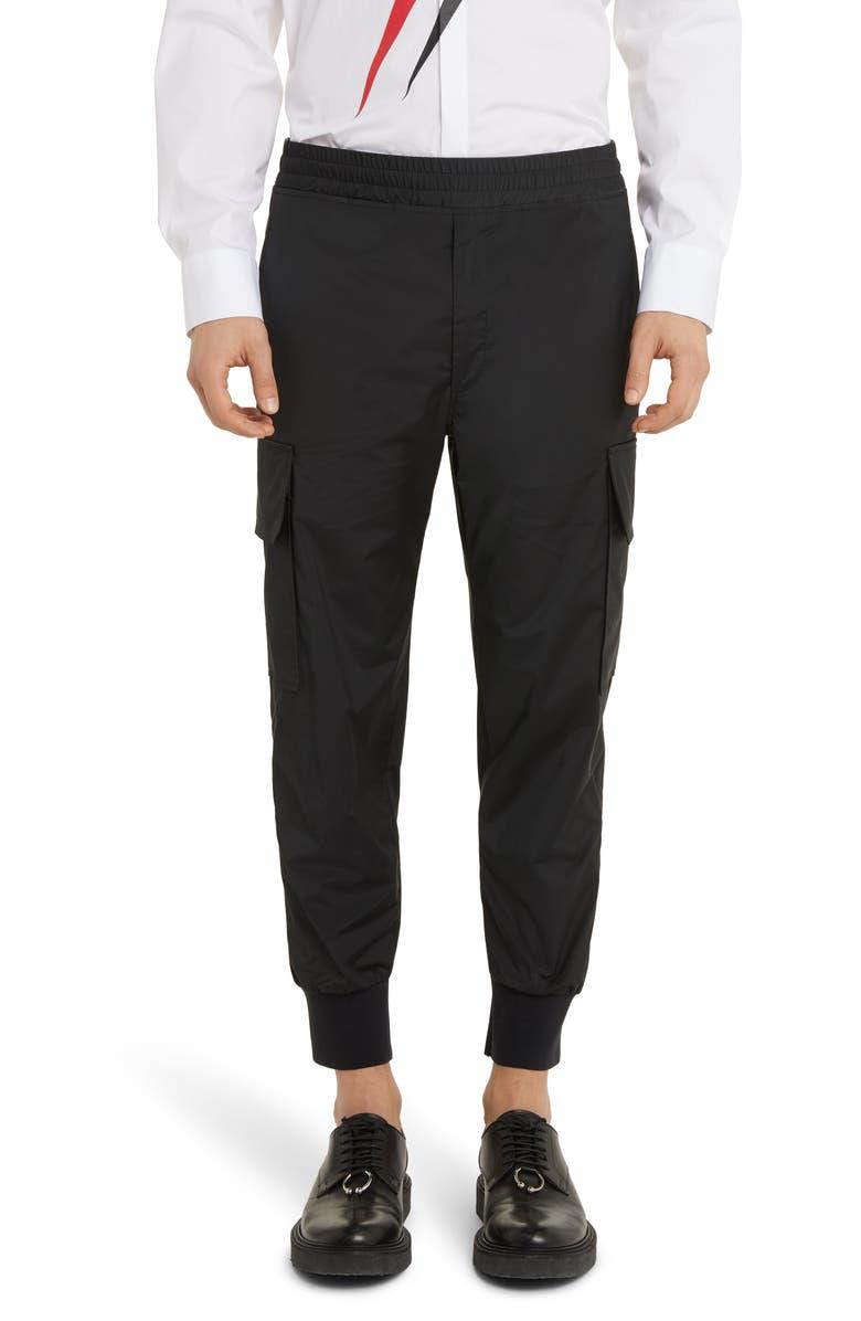 NEIL BARRETT Poplin Cargo Pants, Main, color, BLACK