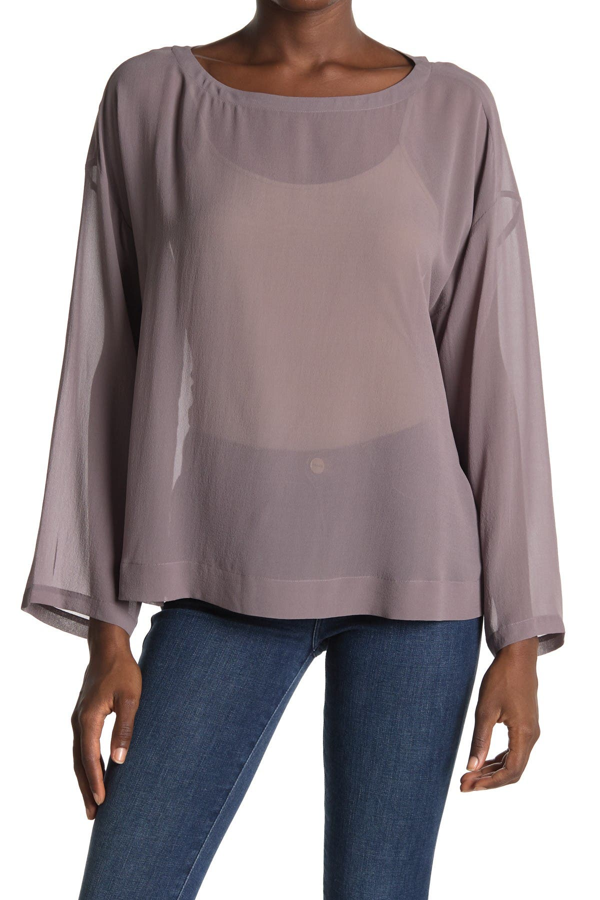 Image of Eileen Fisher Silk Boatneck Boxy Top