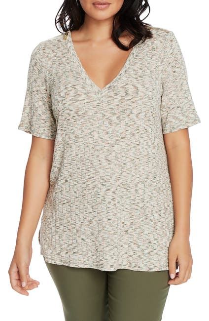 Image of Chaus Elbow Sleeve V-Neck Jaspe Stitch Knit Top