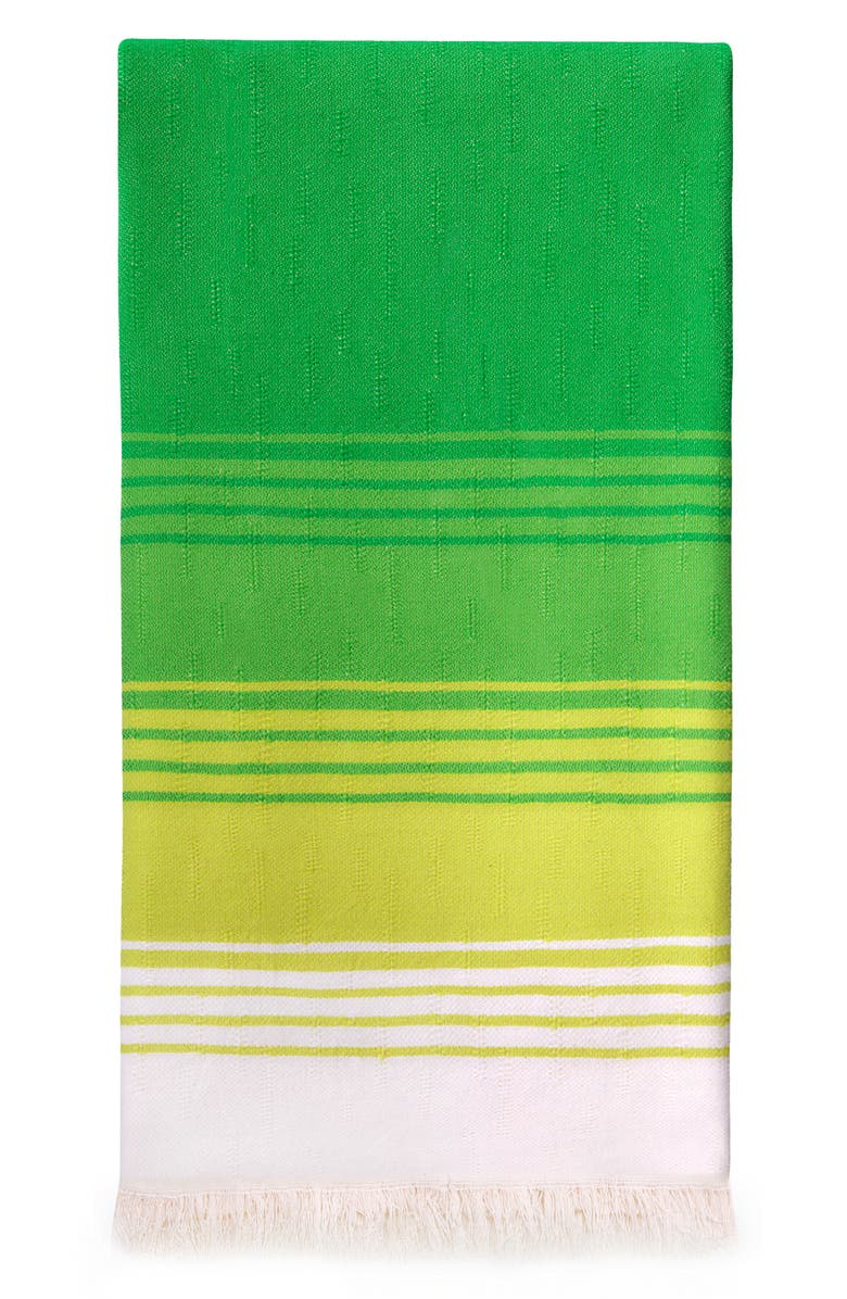 MEDITERIEN DEEP Reef Stripe Hand Loomed Cotton Beach Towel, Main, color, GREEN