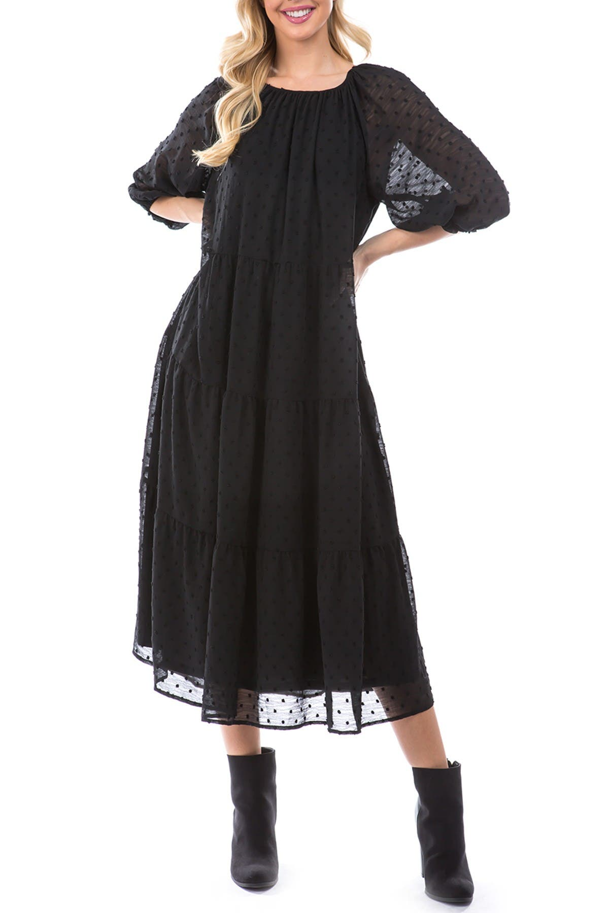 Image of THREADS AND STATES Puff Sleeve Clip Dot Maxi Dress