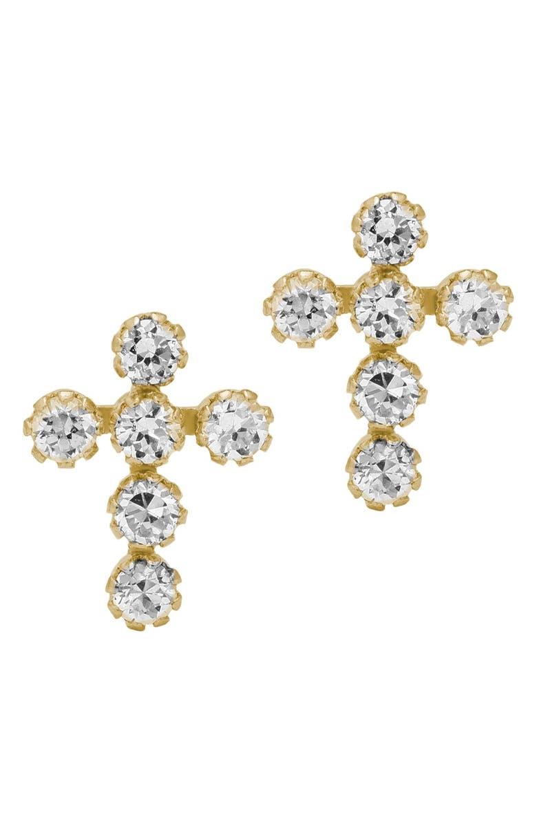 MIGNONETTE 14k Gold & Cubic Zirconia Cross Earrings, Main, color, GOLD